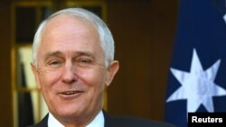 Perdana Menteri Australia Malcolm Turnbull dalam sebuah konferensi pers mengenai hasil survei kesetaraan pernikahan di Canberra, Australia, 15 November 2017.
