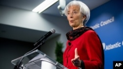 International Monetary Fund (IMF) Managing Director Christine Lagarde speaks at the Atlantic Council, April 9, 2015, in Washington.