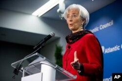 2015年4月9日国际货币基金组织(IMF)总裁克里斯蒂娜·拉加德在华盛顿大西洋理事会