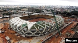 The Arena Amazonia stadium in Manaus, seen here on Dec. 17, 2013, was one of six 2014 World Cup soccer venues to miss a Dec. 31 deadline for completion.