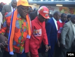 Tendai Biti and Nelson Chamisa attending the MDC Alliance protest Tuesday in Harare.