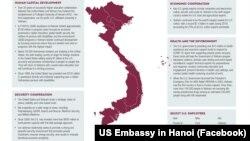 Bản đồ Việt Nam mà Đại sứ quán Mỹ ở Hà Nội đăng tải trên trang Facebook chính thức có hình ảnh các đảo của Hoàng Sa và Trường Sa, nơi Trung Quốc cũng có tuyên bố chủ quyền và gọi là Tây Sa và Nam Sa. (Facebook US Embassy in Hanoi)
