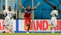John Brooks of the USA scores against Ghana.