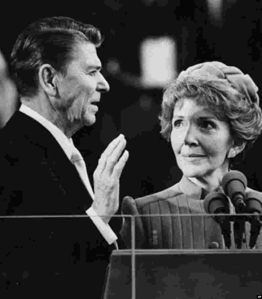 January 20, 1981: Ronald Reagan is sworn in as U.S. president. During his two terms he implemented a weapons buildup that prompted the Soviet Union to counter with a buildup its economy could not afford. (AP)