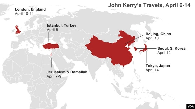 Secretary of State John Kerry travels to the following cities in April.