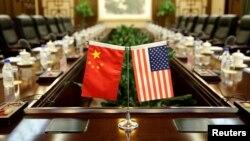 美中两国在北京举行贸易谈判的会场。(资料照片)