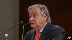 တူရကီႏုိင္္ငံ၊ အစၥတန္ဘူလ္ၿမိဳ႕တြင္က်င္းပသည့္ ၆ ႀကိမ္ေျမာက္ အစၥတန္ဘူလ္ ေစ့စပ္ညႇိႏိႈင္းေရးညီလာခံတြင္ မိန္႔ခြန္းေျပာေနသည့္ကုလအတြင္းေရးမွဴးခ်ဳပ္ Antonio Guterres။ (ေအာက္တိုဘာ ၃၁၊ ၂၀၁၉။)
