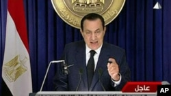 In this image from Egyptian state television aired Tuesday evening Feb 1 2011, Egyptian President Hosni Mubarak makes what has been billed as an important speech.