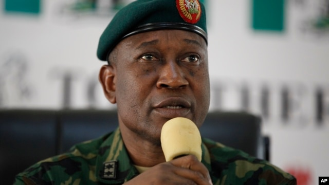 Maj. Gen. Chris Olukolade, Nigeria's top military spokesman, speaks during a press conference on the abducted school girls in Abuja, Nigeria, May 28, 2014.