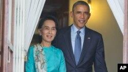 Аун Сан Су Чжі і Барак Обама (архівне фото)