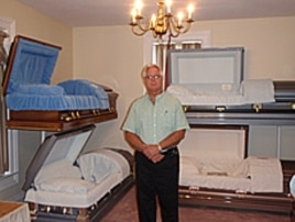 Funeral director Gary Stanley in Vermont, where costs for a full funeral start around $7,000 - more than a month's income for many middle-class American families.