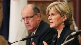 Australian Foreign Minister Julie Bishop speaks alongside Defense Minister David Johnston during press conference, Japan National Press Club, Tokyo, June 12, 2014.