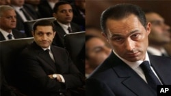 علا و جمال پسران حسنی مبارک که به روز چهارشنبه به زندان توره واقع در حومۀ شهر قاهره منتقل شده اند.