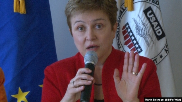 EU Humanitarian Commissioner Kristalina Georgieva makes a point at a conference in Washington on Saturday, April 12, 2014.