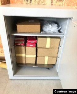 A safe containing just some of the documents that make up the Kocner Library. A select group of journalists are able to access the materials for investigative reporting. (OCCRP)
