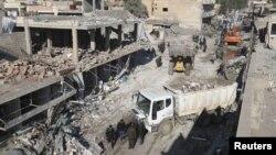 11일 시리아 탈타메르에서 연쇄 차량 폭탄 공격으로 수십명이 사망했다.