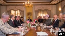 U.S. Secretary of Defense Ashton Carter (3rd-L) meets with Kurdish leader Massud Barzani (4th-R) in Irbil, Iraq, Oct. 23, 2016.
