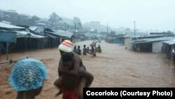 Torrential rains in Sierra Leone have caused heavy flooding and extensive damage to homes and property, Sept. 17, 2015.