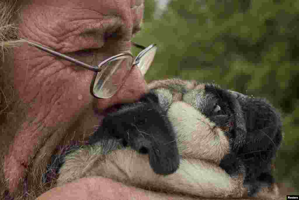 Robert Hooper, exhausted after several days with little sleep, hugs his dog Toby on his property that was burnt by the so-called Valley Fire near Middleton, California, Sept. 14, 2015. The Northern California wildfire ranked as the most destructive to hit the drought-stricken U.S. West this year has claimed one life and burned at least 400 homes to the ground, fire officials reported, saying they expected the property toll to climb.