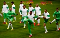Algeria's players prepare for their match against Germany.