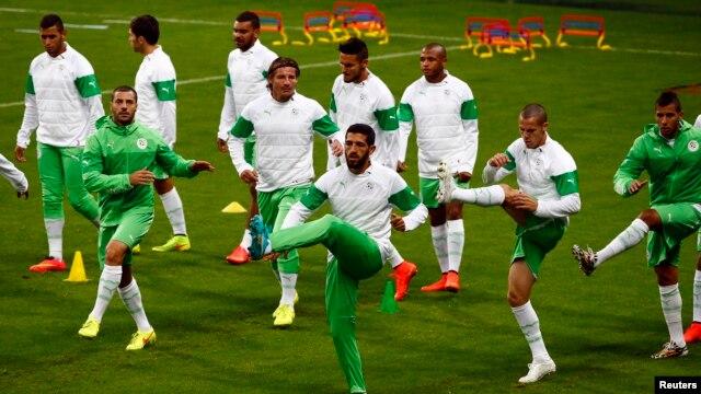 Preparing to play Germany, Algeria's Rafik Halliche, center, and teammates train at the Arena do Gremio in Porto Alegre, Brazil, June 29, 2014.