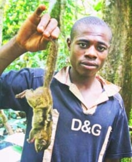 Boy holding bush meat (squirrel) in Bertoua in southeastern Cameroon