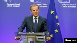 Chủ tịch Ủy hội Âu châu Donald Tusk tại cuộc họp báo ở Brussels, Bỉ, ngày 24/6/2016 sau khi diễn ra cuộc trưng cầu dân ý ở Anh.