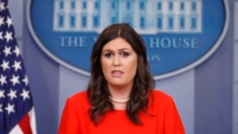 White House press secretary Sarah Huckabee Sanders speaks to members of the media in the Brady Press Briefing room of the White House in Washington, July 21, 2017. Sanders was named press secretary after Sean Spicer resigned earlier in the day.