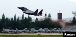 A fighter jet takes off from an air base in Gwangju, South Korea, May 16, 2018.