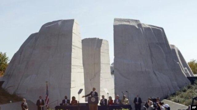 President Barack Obama speaks at the dedication of the Martin Luther King Jr. Memorial in Washington, October 16, 2011.