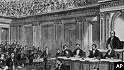 美国参议院就弹劾约翰逊总统进行投票