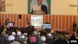 "Afghan President Ashraf Ghani has uses Skype, Google Hangout to chair ""town hall""-style meeting, Kunduz, October 2014 (Ibrahim Rahimi for VOA)."