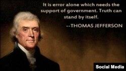 """""""Yalnız yalanın hökumət dəstəyinə ehtiyacı olur. Həqiqət ayaq üstə özü sərbəst dayanır."""" Thomas Jefferson"""