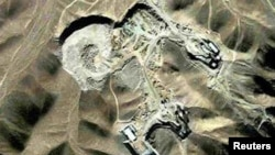 Satellite photo of what is believed to be a uranium-enrichment facility near Qom, Iran.