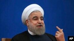 El presidente iraní, Hassan Rouhani, habló en una conferencia de prensa en Teherán, Irán, el martes, 17 de enero, de 2017.