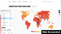 Indeks Persepsi Korupsi tahun 2020 yang dirilis oleh Transparency International (courtesy: Transparency International)