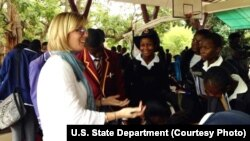 High schoolers visit with US, Canadian, and Spanish college officials in Harare on November 4, 2013.