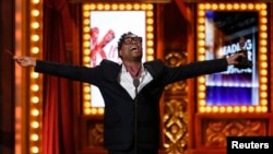 "Billy Porter accepts the award for Best Performance by an Actor in a Leading Role in a Musical for ""Kinky Boots."""