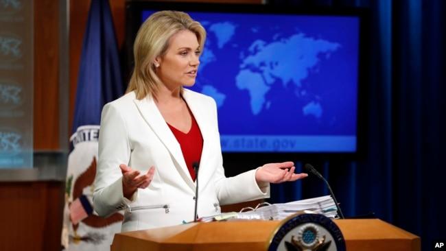 美国国务院发言人诺尔特(美联社2018年8月9日摄)