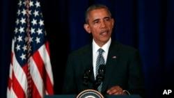 Rais Barack Obama wa Marekani akitoa hotuba.