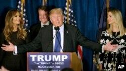 Republikanski predsednički pretendent Donald Tramp odneo pobedu na izborima u Nju Hempširu