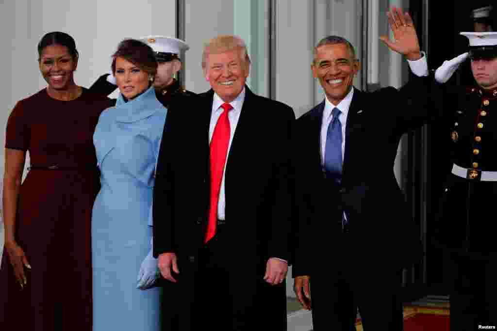 تقریب حلف برداری سے قبل سبکدوش ہونے والے امریکی صدر اوباما نے ٹرمپ اور ان کی اہلیہ کا ستقبال کیا