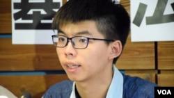 香港眾志秘書長黃之鋒 (美國之音特約記者 湯惠芸拍攝)