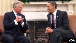 Esta es la primera visita entre el Príncipe Carlos y Obama en la Casa Blanca, Washington.