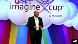 Microsoft Chairman Steve Balmer speaking at the ninth annual Imagine Cup in New York