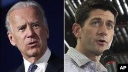 Ứng cử viên phó tổng thống Đảng Cộng hòa Joe Biden (trái) và ứng cử viên phó tổng thống Đảng Dân chủ Paul Ryan