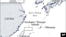 位於中日台三地間的釣魚島位置圖