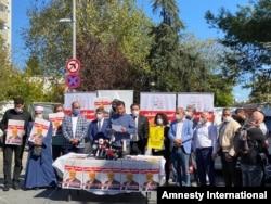 استنبول میں انسانی حقوق کے کارکنوں کا خشوگی کے قتل کے خلاف مظاہرہ۔ فائل فوٹو