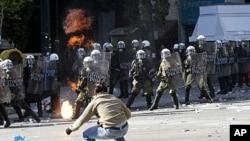 La Grèce a connu de violentes manifestations en rapport avec la crise de la dette, 20 octobre 2011.