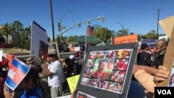 Hundreds of Cambodian-Americans from across the United States rallied at Sunnylands, California, Monday, February 15, 2016. (Sok Khemara/VOA Khmer)